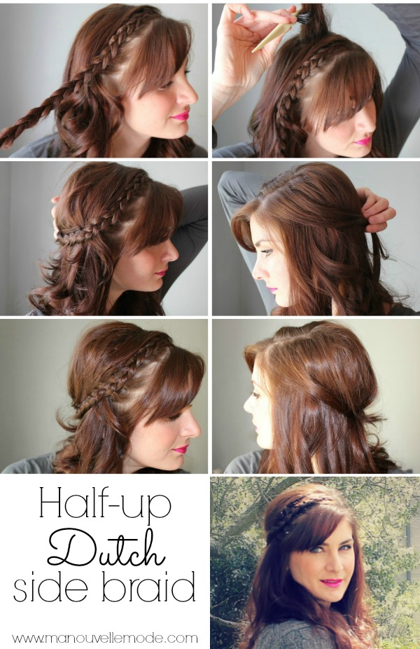 half up dutch side braid tutorial
