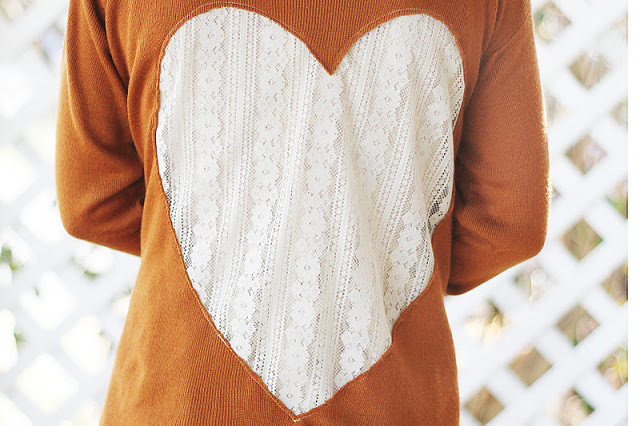 lace heart cardigan DIY // sincerelykinsey.com
