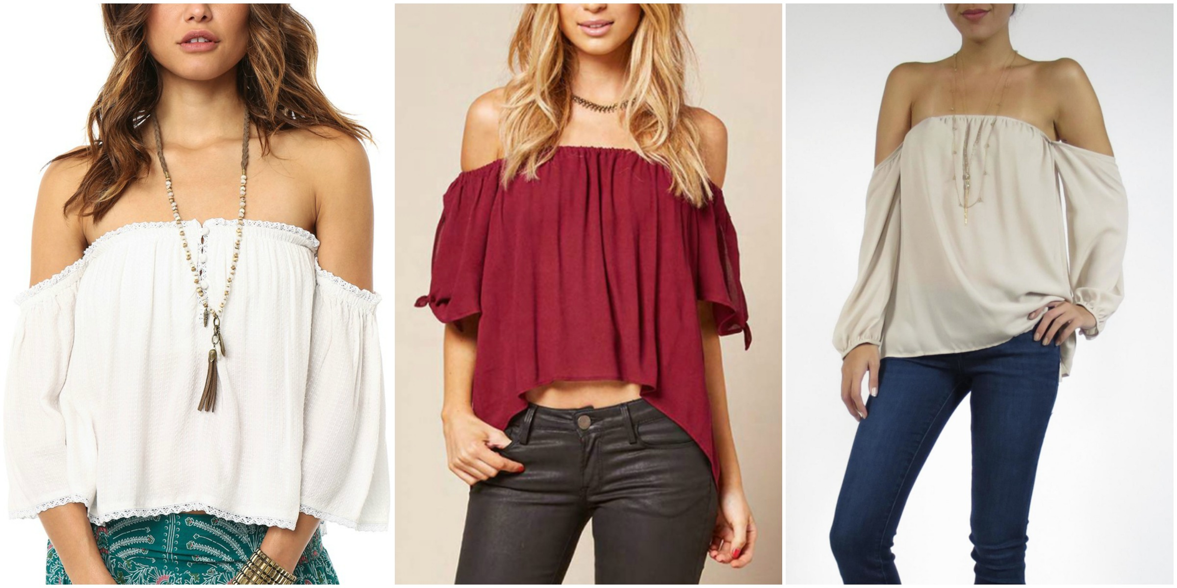 Off Shoulder Tops Collage